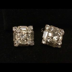 👠VINTAGE multi crystal square clip earrings